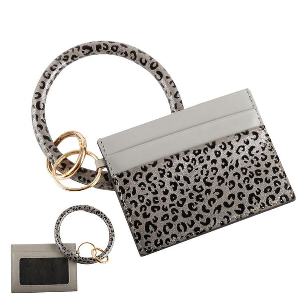 Hematite Leopard Card Wallet Key Ring | Fruit of the Vine Boutique
