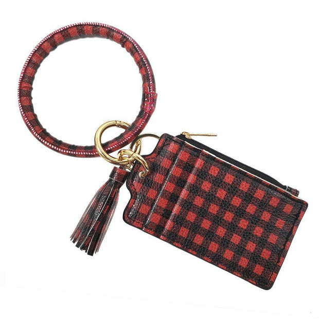 Buffalo Check Card Wallet Key Ring | Fruit of the Vine Boutique