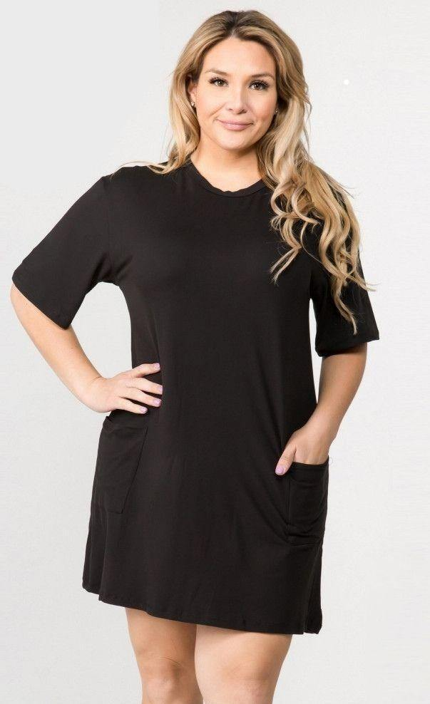 Black T-Shirt Dress with Pockets (Curvy) | Fruit of the Vine Boutique