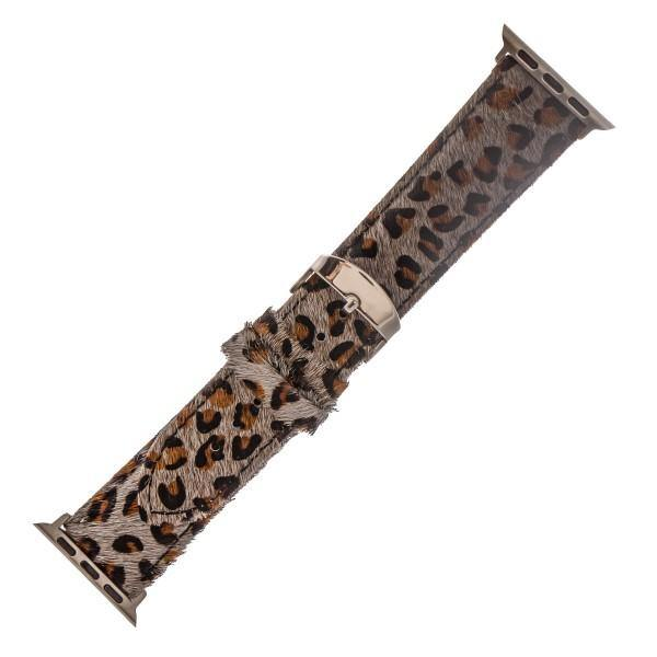 Grey Leopard Hide Watch Band