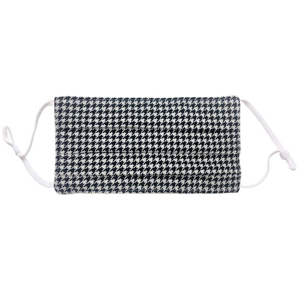 Houndstooth Pleated Adjustable Face Mask | Fruit of the Vine Boutique