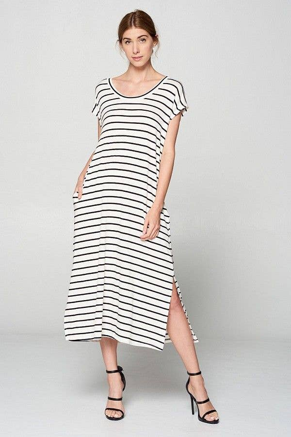 Rylan Striped Midi Dress - Fruit of the Vine