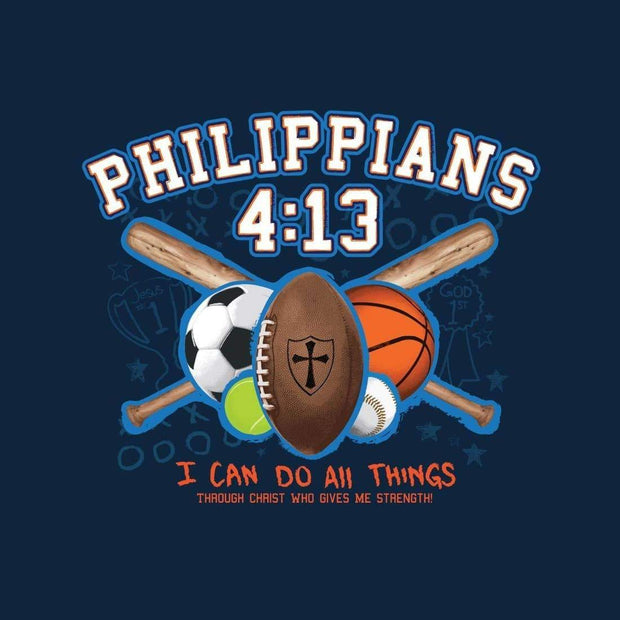All Things Sports Philippians 4:13 Kids Tee - Fruit of the Vine