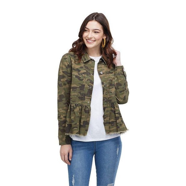 Banks Jacket in Green Camo | Mud Pie