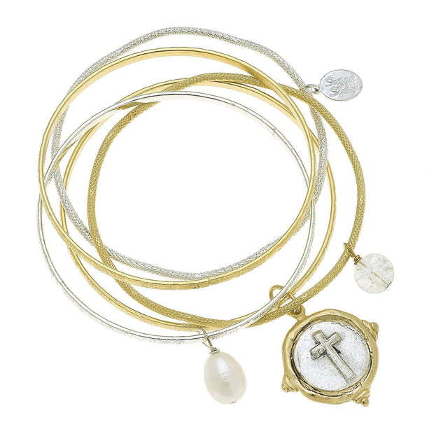 Gold and Silver Italian Intaglio Cross with Freshwater Pearl Bangle Bracelet