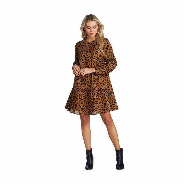 Winnie Tiered Dress in Leopard | Mud Pie