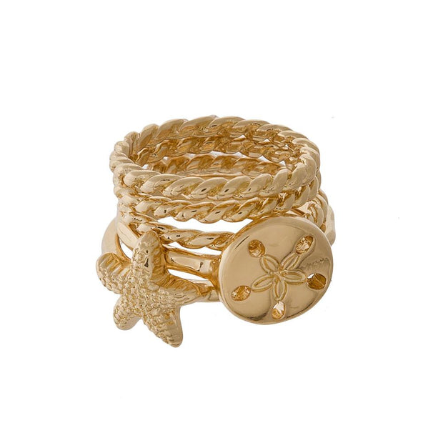 Sand Dollar and Star Fish Gold Ring Set - Fruit of the Vine