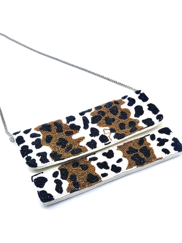 Spotted Animal Print Beaded Crossbody - Fruit of the Vine