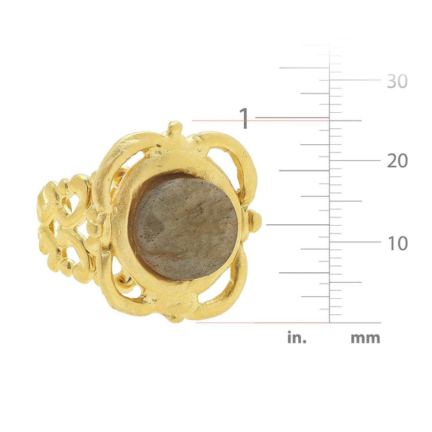 Labradorite Scroll Ring | Susan Shaw | Fruit of the Vine Boutique