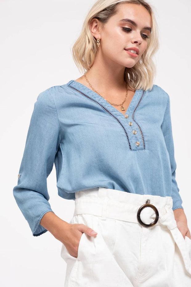 Ladder and Lace Chambray Top