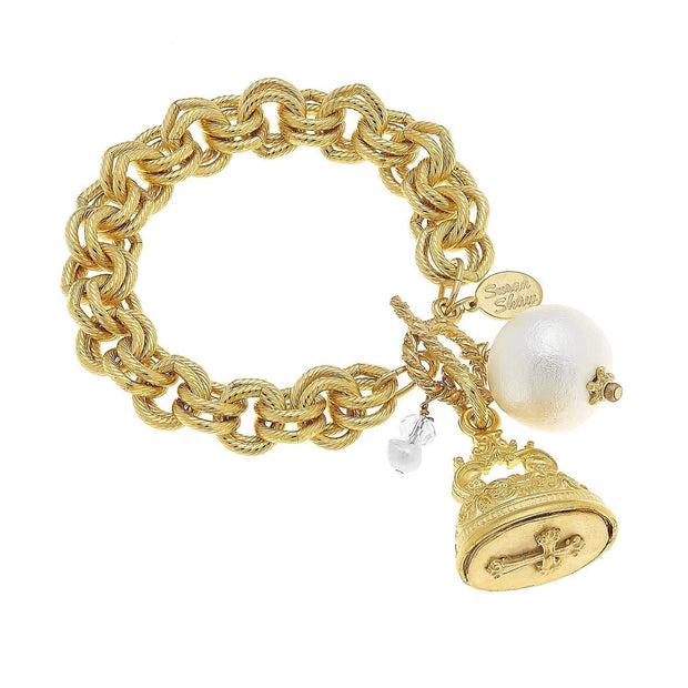 Vintage Cross Charm and Cotton Pearl Bracelet | Susan Shaw | Fruit of the Vine Boutique