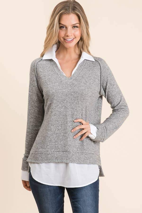 Double Layer Sweater with Collar