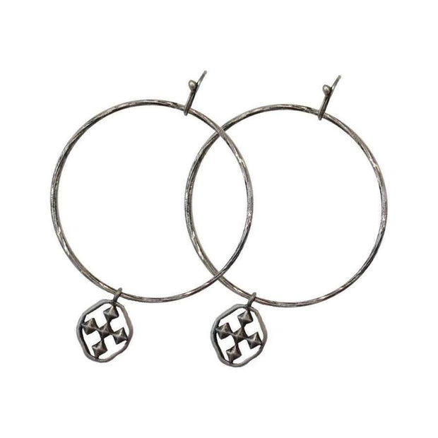 Hammered Shield of Faith Hoops in Oxidized Silver