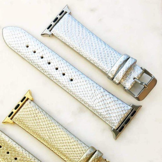 Silver Metallic Leather Watch Band
