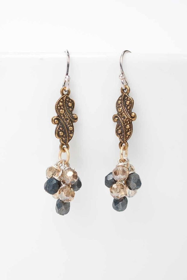 Silver and Gold Cluster Earrings