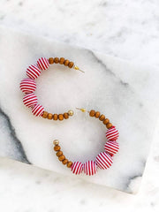 Becca Beaded Wood Hoops