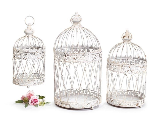 Rustic White Bird Cages - Fruit of the Vine