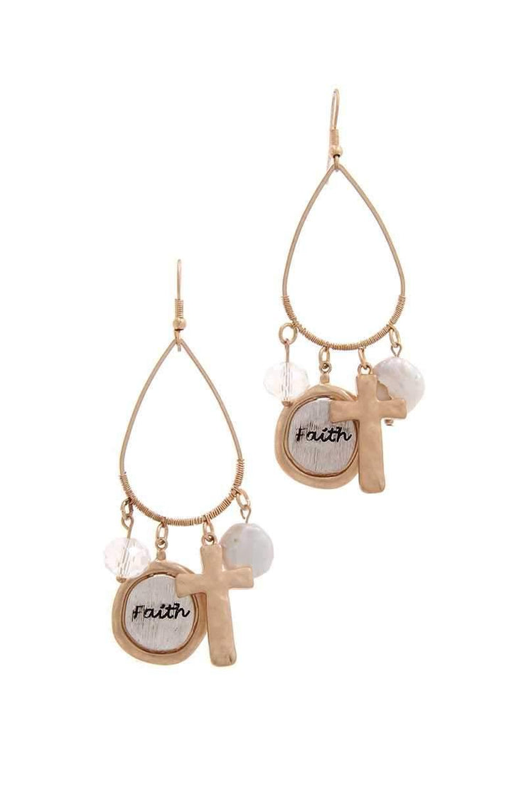Faith Disk and Cross Charm Teardrop Earrings
