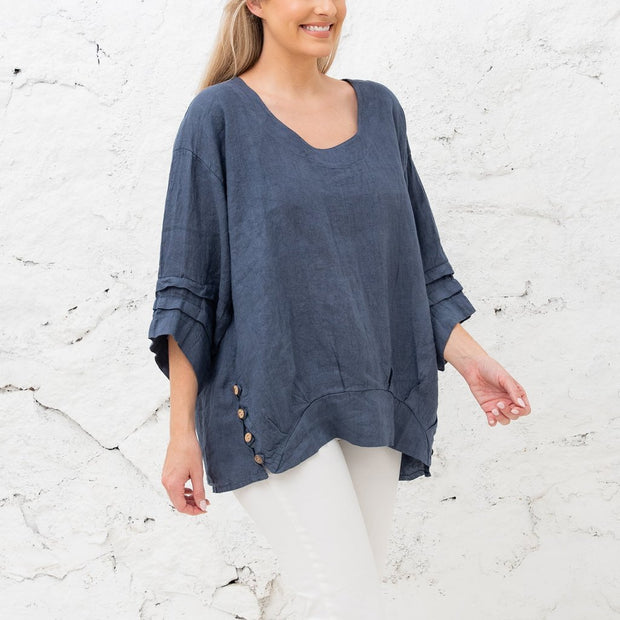 Celeste Linen Button Top - Fruit of the Vine