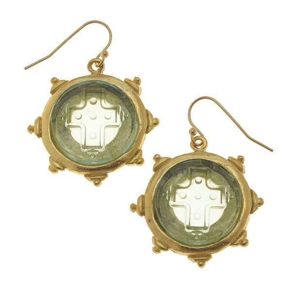 Clear Venetian Glass Cross Intaglio Earrings