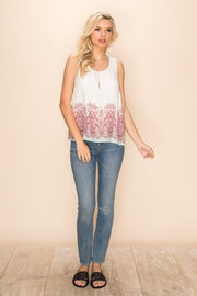Mystree Romantic Flowy Tank - Fruit of the Vine