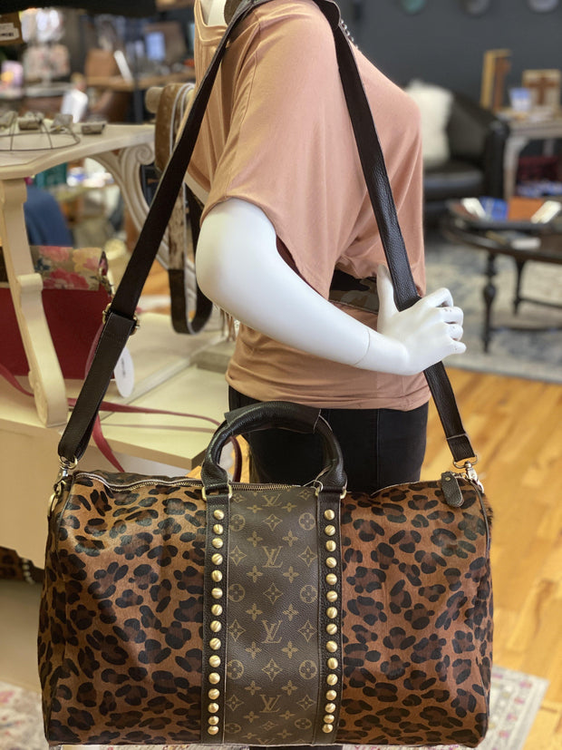 Repurposed LV Traveler Duffle Bag in Dark Leopard