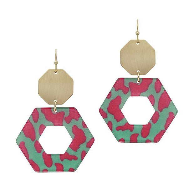Gold Hexagon and Acrylic Earrings | Fruit of the Vine Boutique