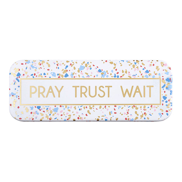 Pray Trust Wait Enamel Plaque