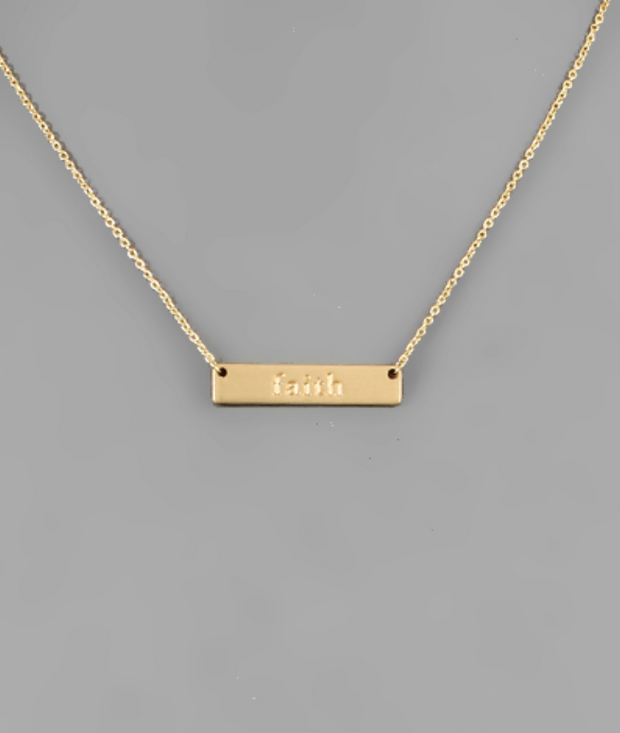 """Faith"" Bar Necklace 