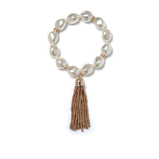 Gold Victoria Pearl and Tassel Bracelet | Fruit of the Vine Boutique