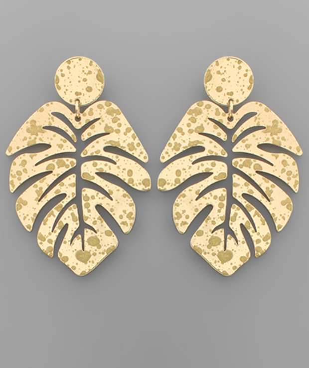 Brass Paint Leaf Earrings