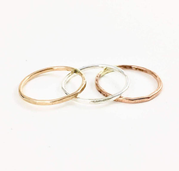 Handmade Hammered Stacking Ring in Yellow Gold Fill | Fruit of the Vine Boutique