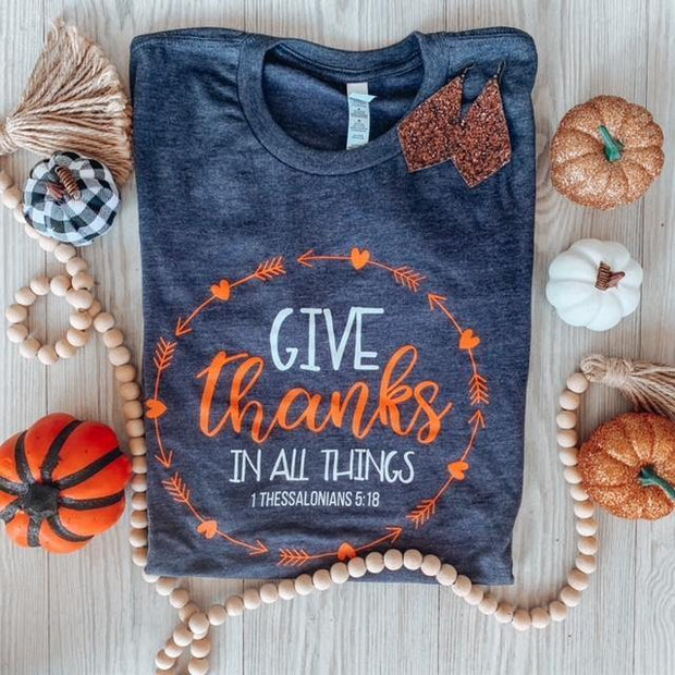 Give Thanks Long Sleeve Graphic Tee | Fruit of the Vine Boutique