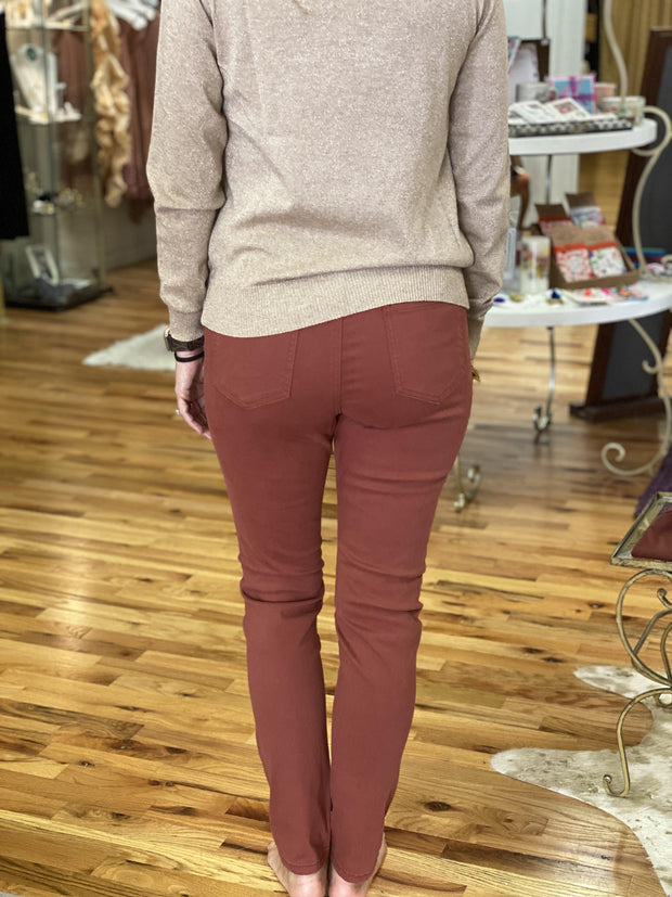 Slim Fit Jeans in Rust | Molly Bracken
