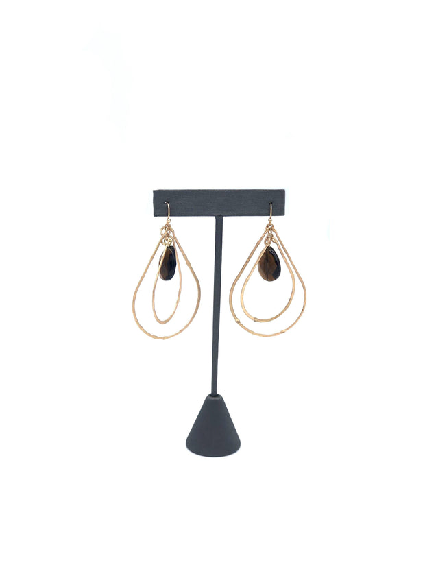 Gold Double Teardrop Topaz Earrings | Fruit of the Vine Boutique