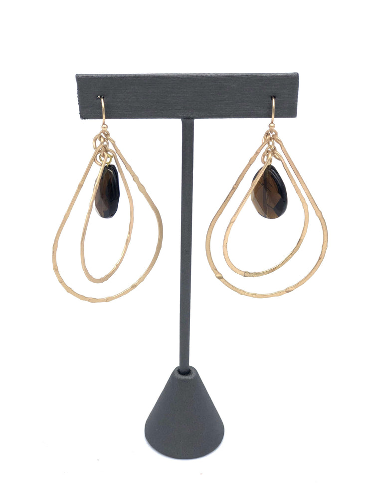 Gold Double Teardrop Topaz Earrings