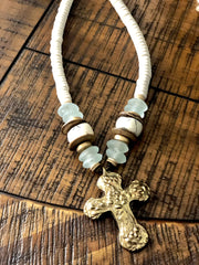 Anchor Beads Gold Cross Necklace