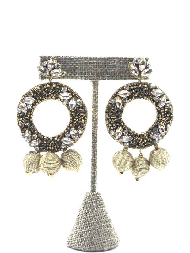 Gold Beaded Earrings - Fruit of the Vine