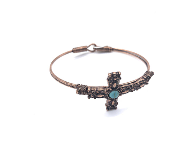 Bronze and Turquoise Cross Bracelet