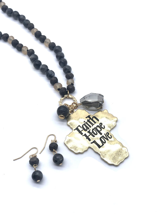 'Faith Hope Love' Cross Necklace and Earring Set - Fruit of the Vine