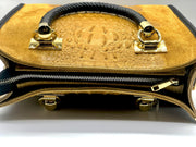 German Fuentes Mustard and Black Leather Handbag