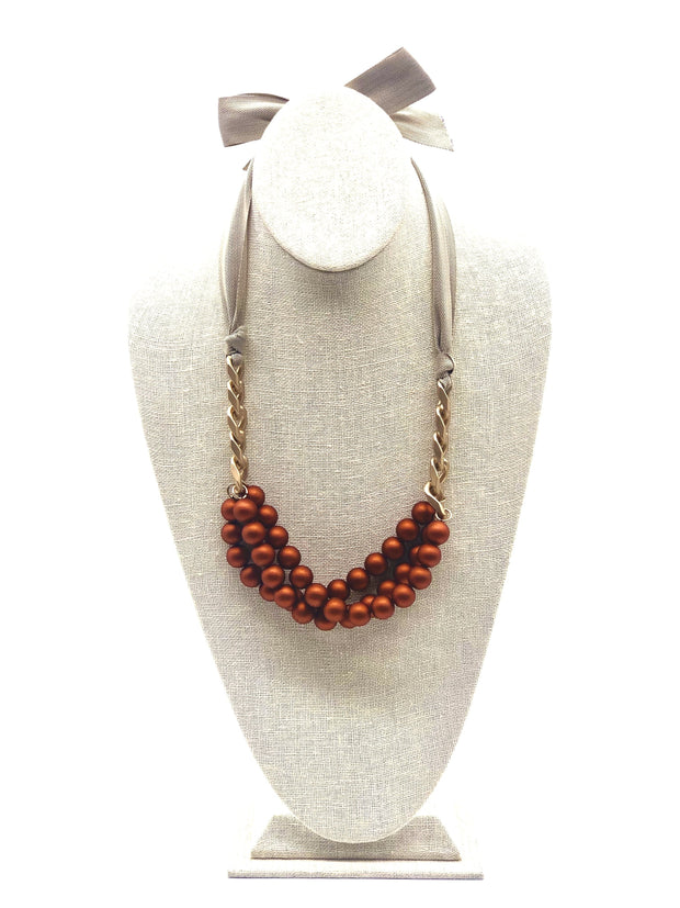 Rust Ribbon Necklace - Fruit of the Vine