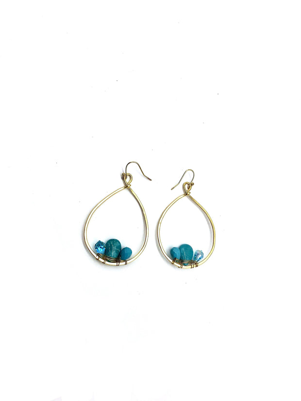 Gold Earrings with Turquoise Stones | Fruit of the Vine Boutique