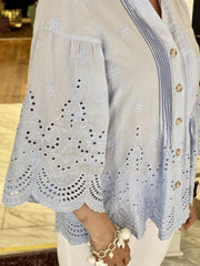 Time for Tea Embroidered Eyelet Top
