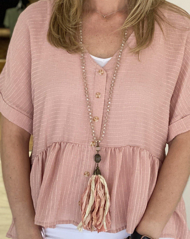 Pink Tassel Handmade Necklace