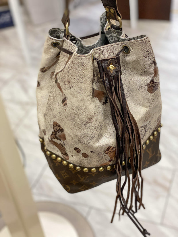 Repurposed LV Bucket Bag in White Grunge