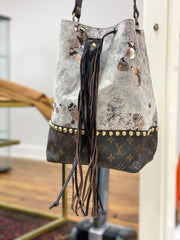 Repurposed Bucket Bag in White Grunge