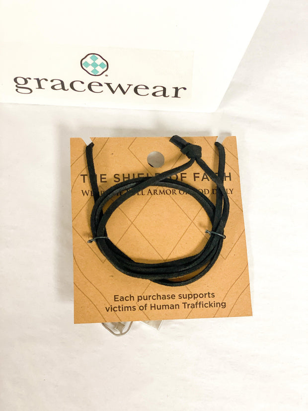 Adjustable Suede Lariat with Shield of Faith Charms | Gracewear Collection | Fruit of the Vine Boutique