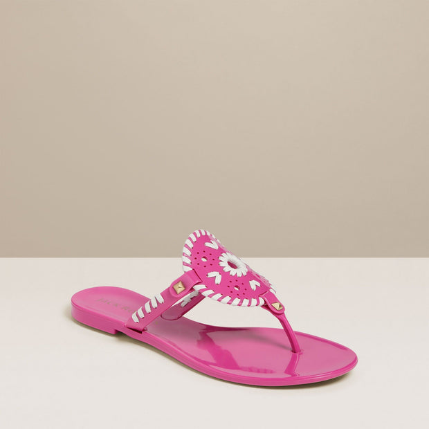 Jack Rogers Georgica Jelly Sandal in Bright Pink & White - Fruit of the Vine