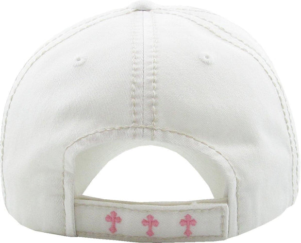 Distressed Floral Cross Hats